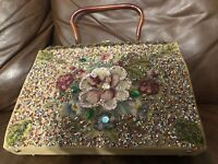 Vintage Soure Bag New York Purse Embellished with needlepoint, jewels, and beads
