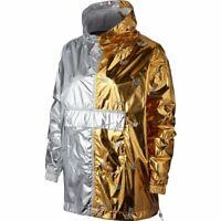 Nike Damen WMNS NSW Metallic Windbreaker Jacket Gold Silver AJ0104-751 Neu Gr.M