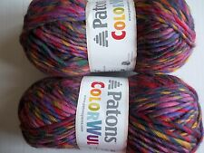 Patons Colorwul  100% wool bulky twist yarn, Bloom, lot of 2 (90 yds each)