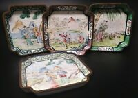 Antique Chinese Canton Enamel Trays Small Dishes Set of Four People & Landscapes