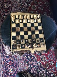 Chess coffee table Checkers solid wood two sided one of a kind artist out of Ca