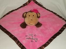 BABY ESSENTIAL Plush LIL MONKEY BLANKET Pink Brown Rattles Bow Stuffed Animal