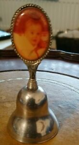 VINTAGE SILVER PLATE SMALL DESK BELL WITH A ROYAL PHOTO OF PRINCE HANDLE