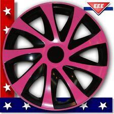 4 Radkappen 13 Zoll Radblenden ★ pink/schwarz ★ z.B.für RENAULT SEAT HONDA ROVER