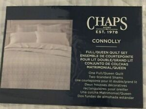 Chaps Connolly Gray/Blue/White Plaid 3 Piece Full/Queen Quilt Set NWT