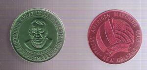 Lot of 2 1983 Rocky Graziano Boxing Italian-American Mardi-Gras 1.5-Inch Coins