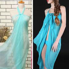 Light Blue Extra Long Sheer Pareo Dress Sarong Beach Bikini Cover Up Scarf Wrap