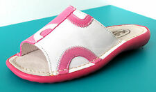 SANDALES MULES OUVERTES 28 cuir rose blanc MINIBEL fille NEUF