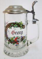 """Bierkrug Bierseidel """" Georg """" Glaskrug mit Zinndeckel -  Schaller 98 % 18 cm"""