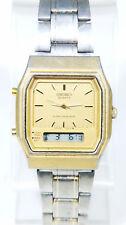 Seiko Quartz Alarm Chronograph St Steel Gold Digital Mens Watch H601-5219 O51