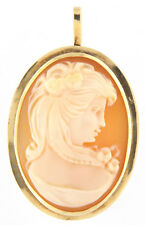 Detailed Cameo Pendant/Charm 14k Yellow Gold 1.3 Inch