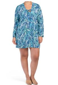 NWT LA BLANCA Cover Up Cabana Dress Blue 1X Women Plus Swimwear