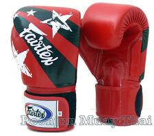 Fairtex  Muay Thai Boxing Gloves Limited ed BGV1 Red Nation Print Training Sparr