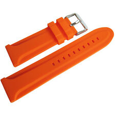 26mm Hadley-Roma MS3377 Mens Orange Silicone Rubber Bevel Dive Watch Band Strap