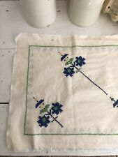 Vintage French unfinished EMBROIDERY ouvrage COTTON panel C1950