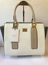 Bessie Couture London White Beige Navy Striped Trapeze Tote Shoulder Handbag