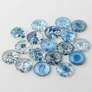 10Pcs 10x4mm Blue and White Floral Printed Glass Cabochons Half Round/Dome