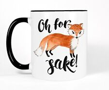 Cute Fox Coffee Mug, For Fox Sake Cup, Black and White Funny Gift for Him or Her
