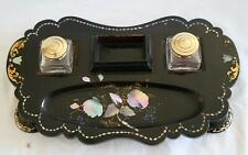 Victorian Papier Mache Inkwell by Jennens & Bettridge - Mother of Pearl Inlaid