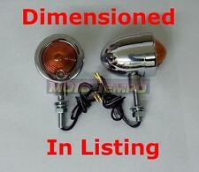 De Metal Cromado Bullet indicadores corto 15mm motocicleta Stem Custom Chop Universal