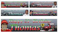 2 x Personalised F1 Formula 1 Birthday Banner - Various designs.