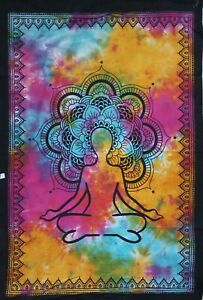New Back Flower Tie Dye Meditation Lord Buddha Wall Hanging Tapestry Poster Deco