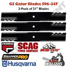 "Set of 3 Gator G5 596-347 21"" Blades for Ferris   Scag   BobCat   Snapper   Husq"