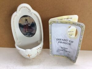 COLLECTABLE RCN INFANT OF PRAGUE CERAMIC HOLY WATER FONT