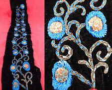 Vintage Art Deco Black Velvet Blue Chenille Gold Lame Embroidered Dress Trim