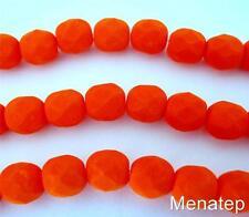 25 6mm Czech Glass Firepolish Beads: Neon - Orange