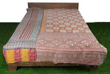 Vintage Cotton Kantha Quilt Indian Handmade Reversible Ralli Bohemian Blanket