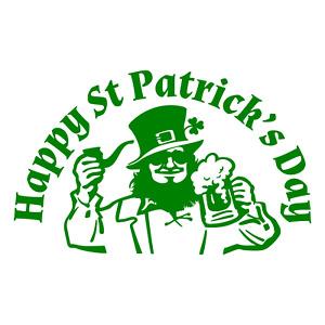 Happy St Patrick's Day Window Sticker Vinyl Irish Shamrock Beer Door Decal D