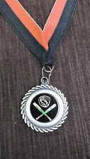 """1 1/2"""" Diameter Gold Baseball medal black insert red/black neck drape"""