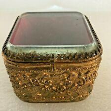 Boite à bijoux ancienne verre biseauté capitonné dans son jus