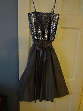 Tea Length Dress w/Sequin Top and Jacket Sz 9/10 Dark Gray Prom/Cocktail Dress