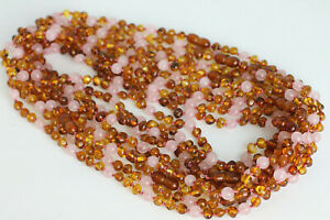 """BALTIC AMBER NECKLACES Lot of 10 Cognac Rounded Amber Beads +Rose Quartz 18-22"""""""