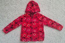 Marimekko Maija Isola Unikko Poppy Hoodie 4 5 Years 104 110 Red Floral Velour