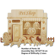 New Assembly DIY Education Toy 3D Wooden Model Puzzles Of Animals Pet Shop