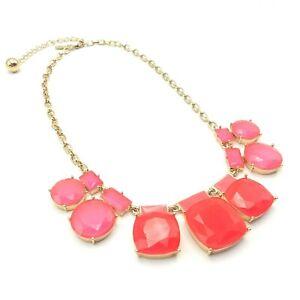 Kate Spade New York 'Cause A Stir' Pink & Neon Orange Statement Fashion Necklace