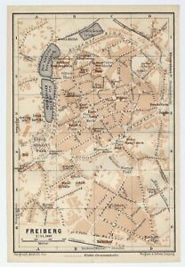 1910 ORIGINAL ANTIQUE MAP OF FREIBERG CITY / SAXONY SACHSEN GERMANY