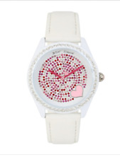 BETSEY JOHNSON Women White Watch Pink Crystal Face Leather Band 37BJ00048-291BX