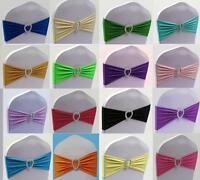 50 Lycra Spandex Stretch Wedding Event Chair Cover Band Sashes With Heart Buckle