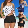 US Ladies Sexy Bikini Flounce Polka Dot Print Top Tankini Set Bathing Swim Suits