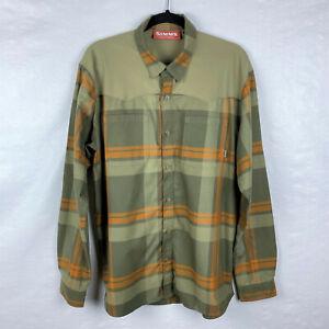 Simms Black's Ford Olive Green Orange Plaid Men's Flannel Button Up Shirt Sz L