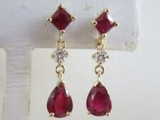 14k.Yellow Gold Drop Shape Ruby & Diamond Dangle Earrings, 2 Carats TWT. Vintage