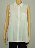 Alfani Womens White Sleeveless Pleat High-Low Collar Button Down Shirt Top 8 10