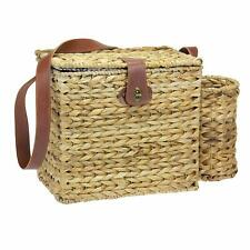 Picnic Basket and Wine Caddy w 2 settings Natural Woven Hyacinth Wicker