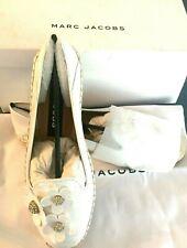 Womens MARC JACOBS Daisy Embellished White Slip On Leather Slides Flats NEW Sz 9
