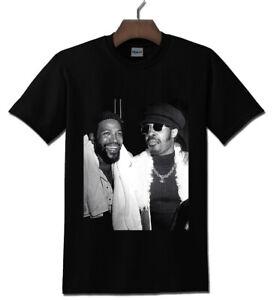 Stevie Wonder with Marvin Gaye Vintage Black T-shirt S - 2XL