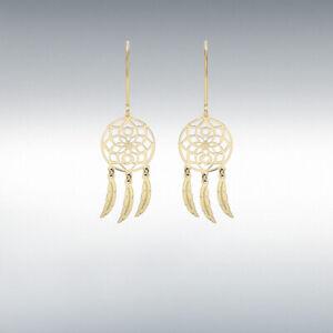GENUINE 9CT YELLOW GOLD 12MM X 40MM FLOWER 'DREAM CATCHER' EARRINGS